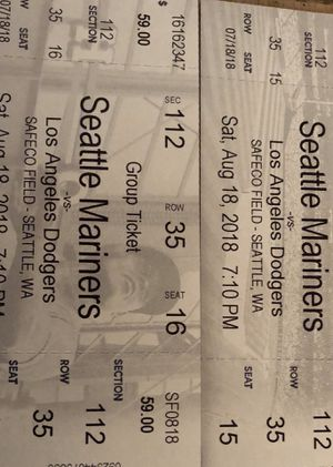 Mariners vs Dodgers. Saturday 8/18 7:10 pm 2 tickets for Sale in Port Orchard, WA