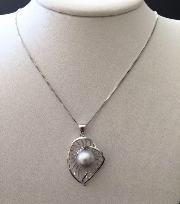 115mm light gray pearl pendant necklace with sterling silver 115mm light gray pearl pendant necklace with sterling silver setting and chain meet at sf or richmond jewelry accessories in richmond ca offerup aloadofball Gallery