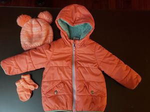 12-24 Months Baby Girl Coat with Matching Hat and Mitten Set for Sale in Columbia, MD