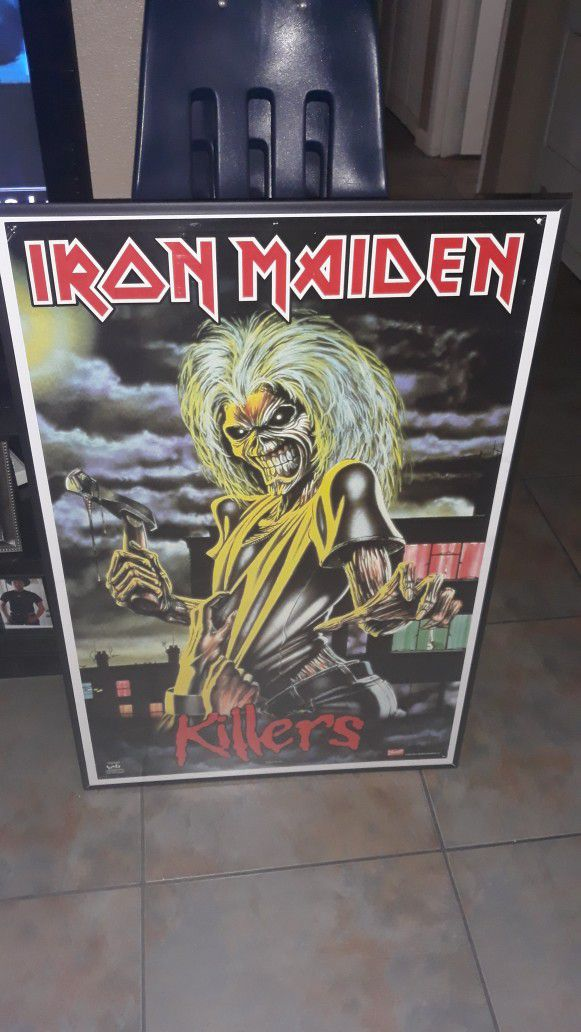 Must See Framed Iron Maiden 36 By 24 Poster Perfect For Man Cave Very Collectable 25 Doll