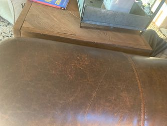 Authentic leather nailhead couch Thumbnail