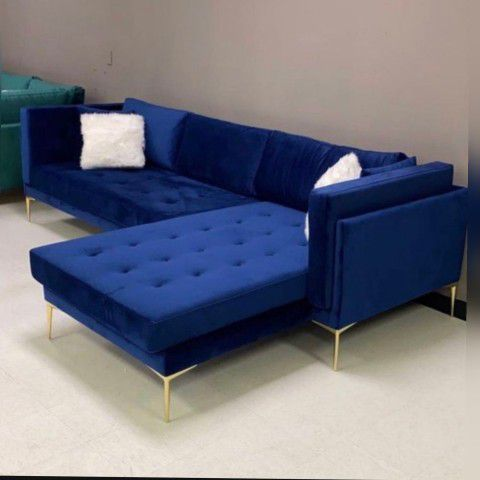 💙Naila Blue Velvet Sectional Couch |~ Special Price | Free Same Day Delivery 🚚↔️