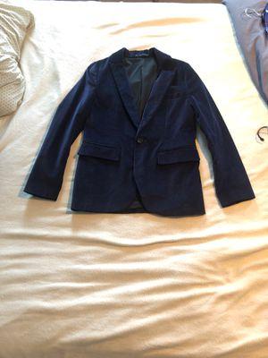Photo Men's Velvet Blazer Jacket- Navy