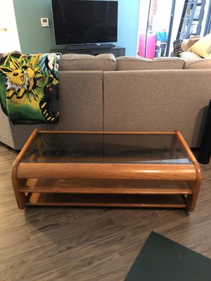 Wooden coffee table, tempered glass top for Sale in Rockville, MD