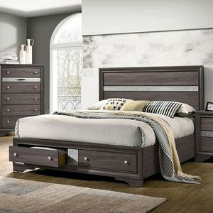 Photo GRAY SILVER ACCENTS QUEEN SIZE BED STORAGE DRAWERS