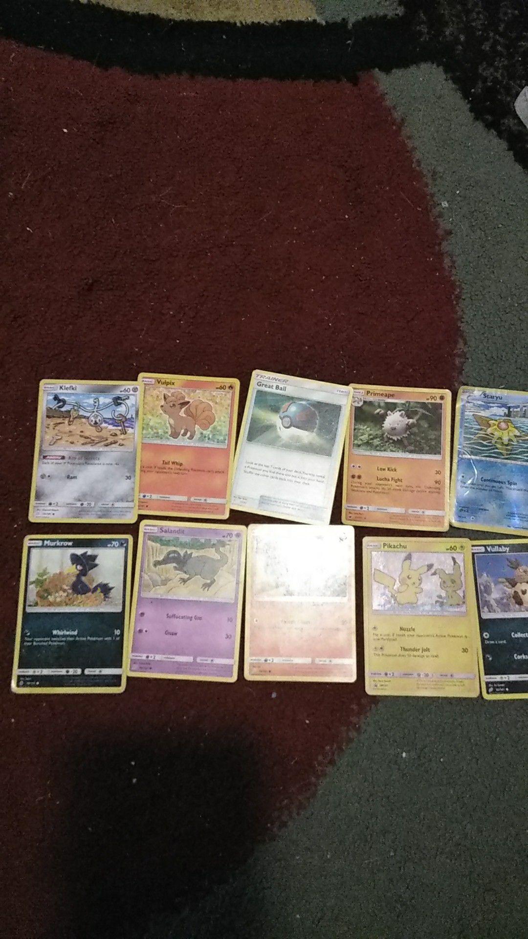 Selling 10 pokémon cards