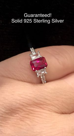 LAST ONE! 1.06 Ct Genuine Red Ruby Emerald Cut Real Solid 925 STERLING SILVER Engagement ring wedding promise bridal Size 6 👇 for Sale in Glendale, AZ