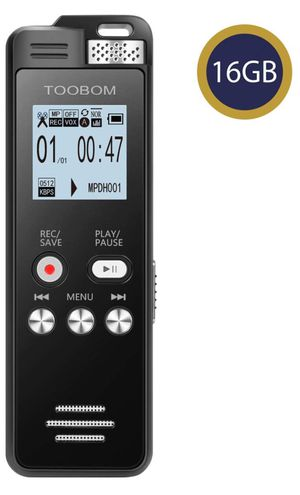 195. TOOBOM 16GB Digital Voice Recorder Voice Activated Recorder Playback - Upgraded Sound Audio Recorder Dictaphone Line in Lectures,Meetings,Conver for Sale in San Diego, CA