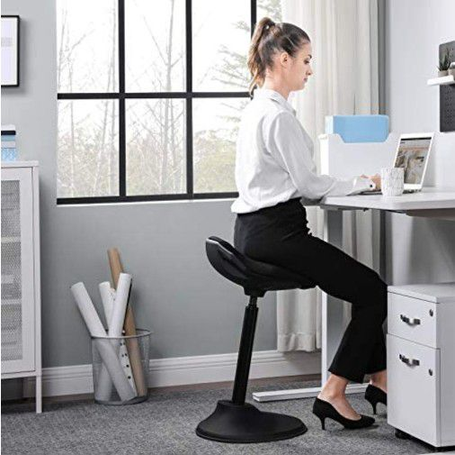 "Standing Desk Chair, Adjustable Ergonomic Standing Stool, 23.6""-33.3"", Swivel Sitting Balance Chair, Anti-Slip Bottom Pad, Black"