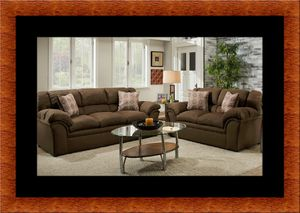 Chocolate fabric sofa and loveseat for Sale in Silver Spring, MD