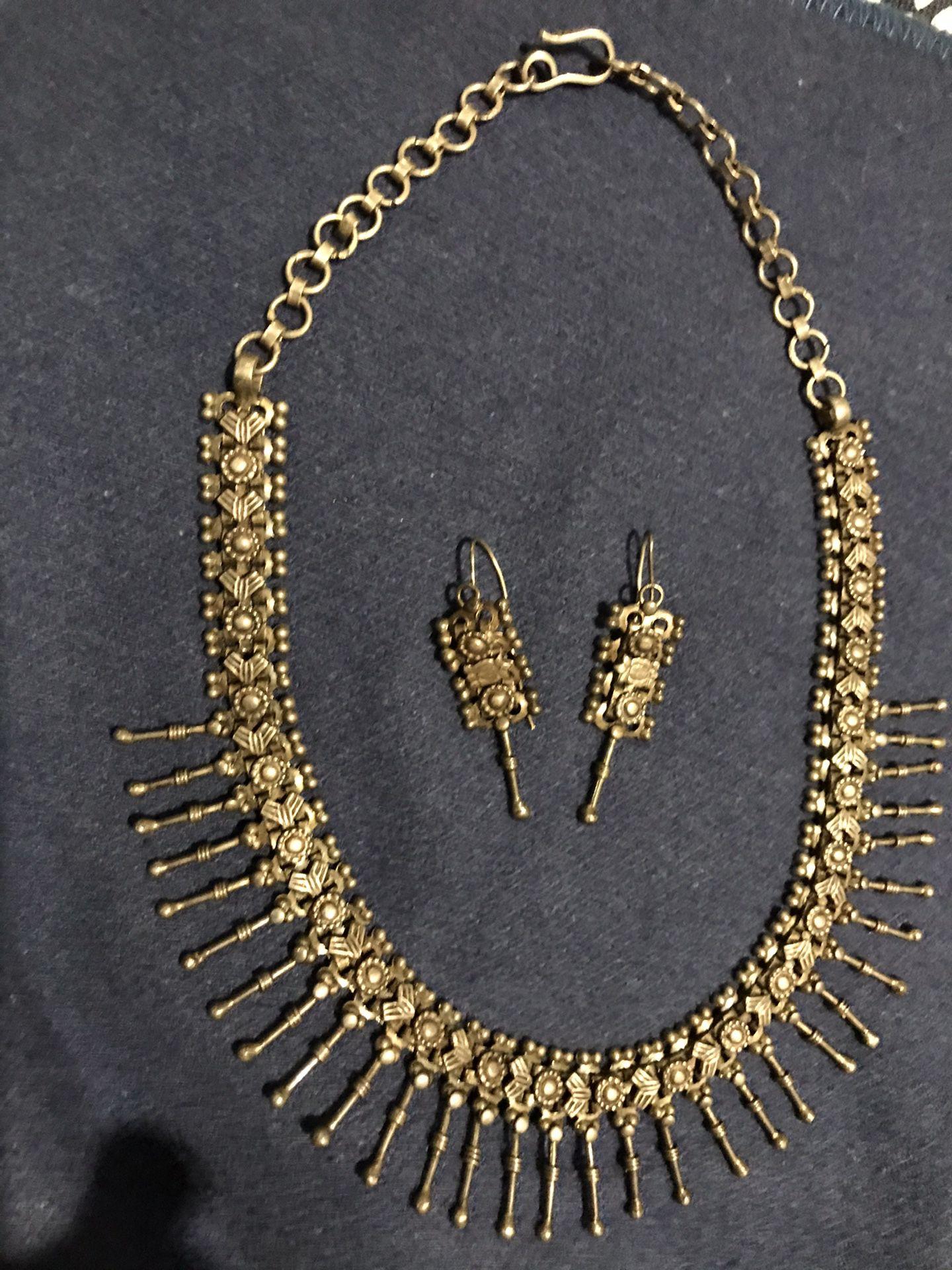 Black Metal Indian Choker Necklace N Earrings