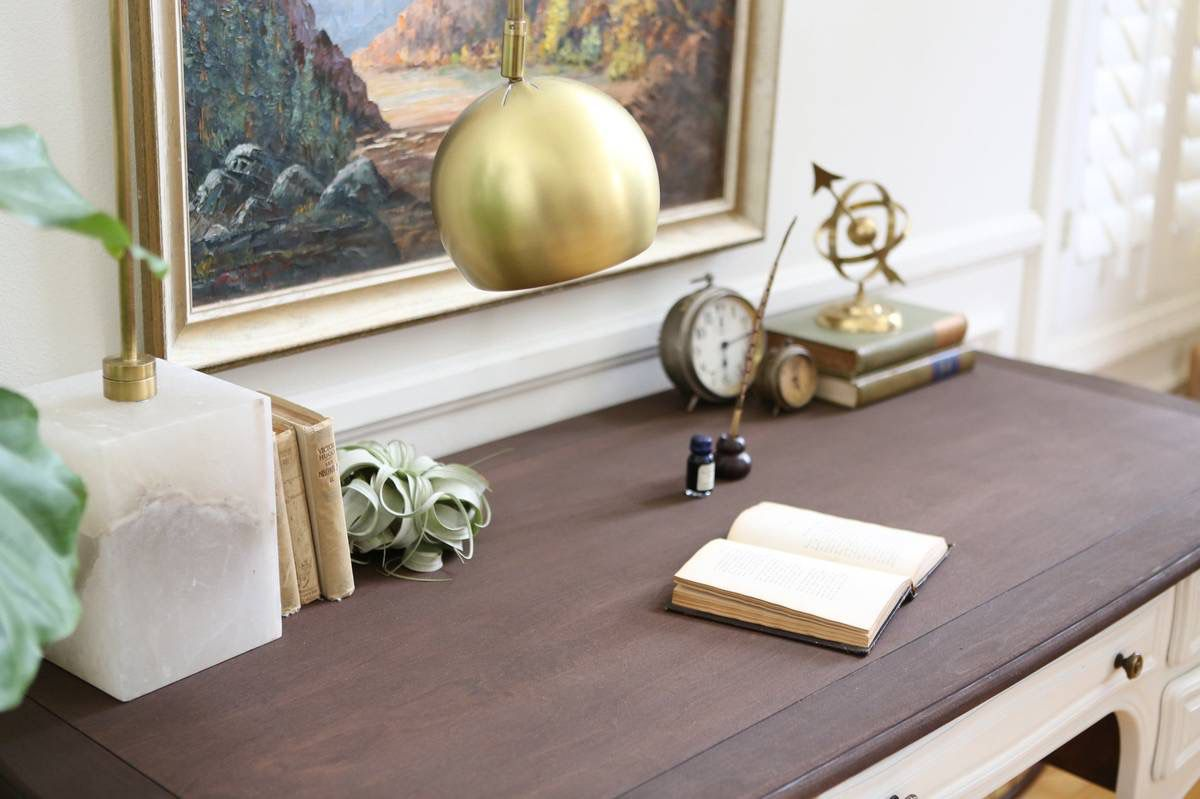 Marble Base Table Arc Desk Lamp with brass shade