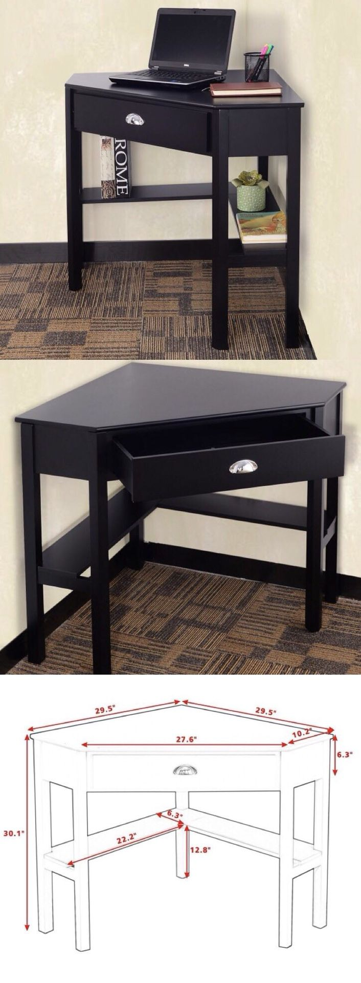 New in box black wooden space saving corner computer laptop desk table with drawer 30x30x30 inches