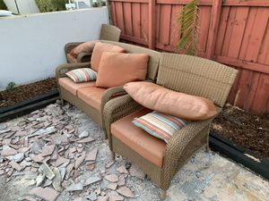 Photo Outdoor furniture wicker and fabric