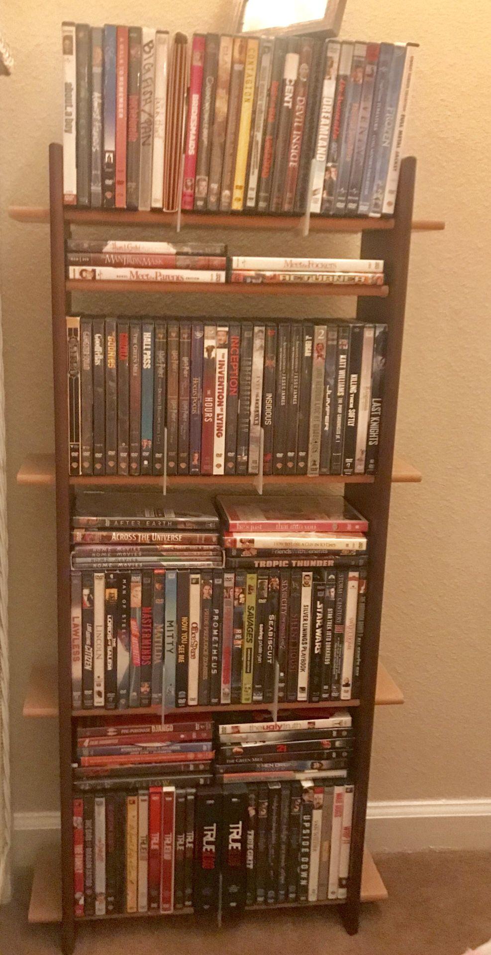 DVD/ CD rack, assorted movies
