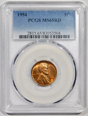 Photo 1954 Lincoln Cent PCGS MS-65 RED