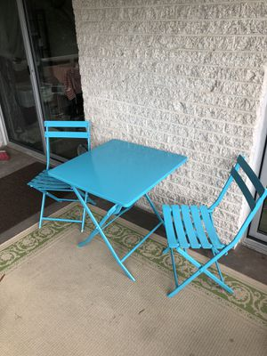 Outdoor Metal Folding Table and Chairs (Blue) for Sale in Cabin John, MD