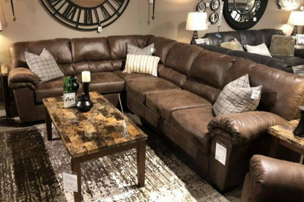 New Ashley Brand Chocolate Sectional, Delivery And Financing Available