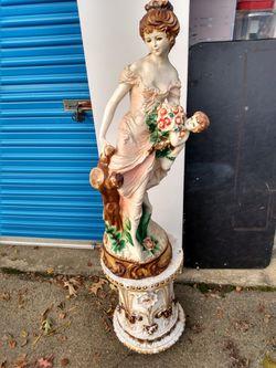 """Majolica-56"""" Lady Statue on base Thumbnail"""