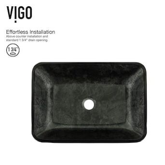 """2 -gray glass vessel sinks ( 13""""x 17"""") faucet included"""