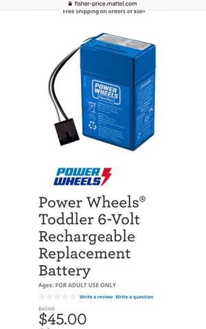 Photo Brand New Power Wheels 6 - Volts Rechargeable Battery - $35.00 FIRM