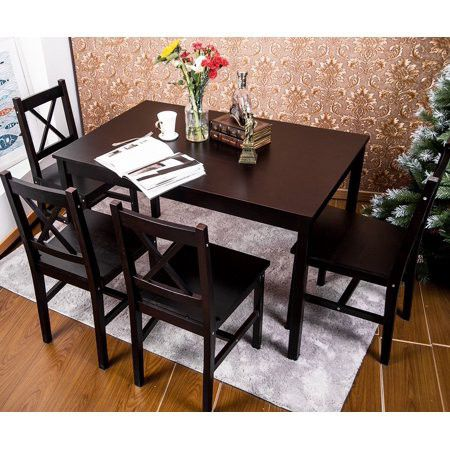 Merax. 5 PC Solid Wood Dining Set 4 Person Table and Chairs ...