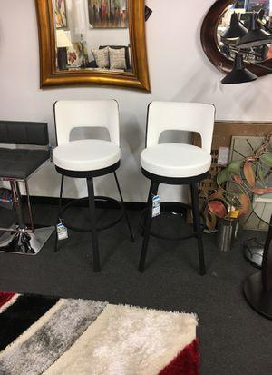 Swivel bar stool set of 2 white leather black for Sale in Alexandria, VA
