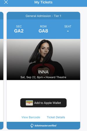 2 Tickets To Inna this Saturday September 22nd. $40 per ticket. for Sale in Fulton, MD