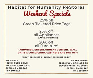 Weekend sale at Habitat for Humanity Restore for Sale in Rockville, MD