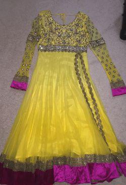 Yellow stone work party dress Thumbnail