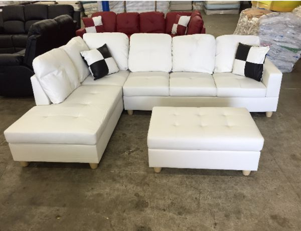Pleasant Brand New White Leather Sectional Couch With Storage Ottoman Pabps2019 Chair Design Images Pabps2019Com