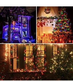 Waterproof LED Outdoor Christmas String Lights, LED UL Certified 8 Modes with End-to-End Plug, Indoor & Outside Fairy Light for Christmas Tree, Patio, Thumbnail