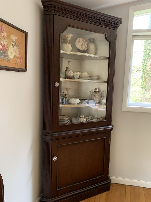 Solid Wood Corner Cabinet Hutch