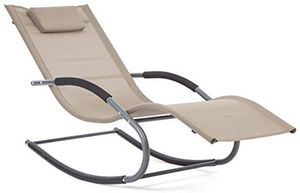 LUCKUP Outdoor Recliner Pool Chaise Patio Rocking Wave Lounger Chair with Pillow,Tan for Sale in Annandale, VA