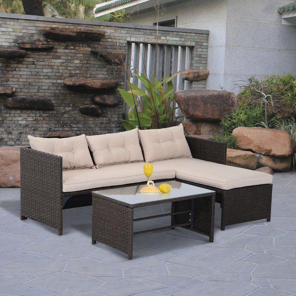 3 Piece Outdoor Patio Sofa & Lounge Set