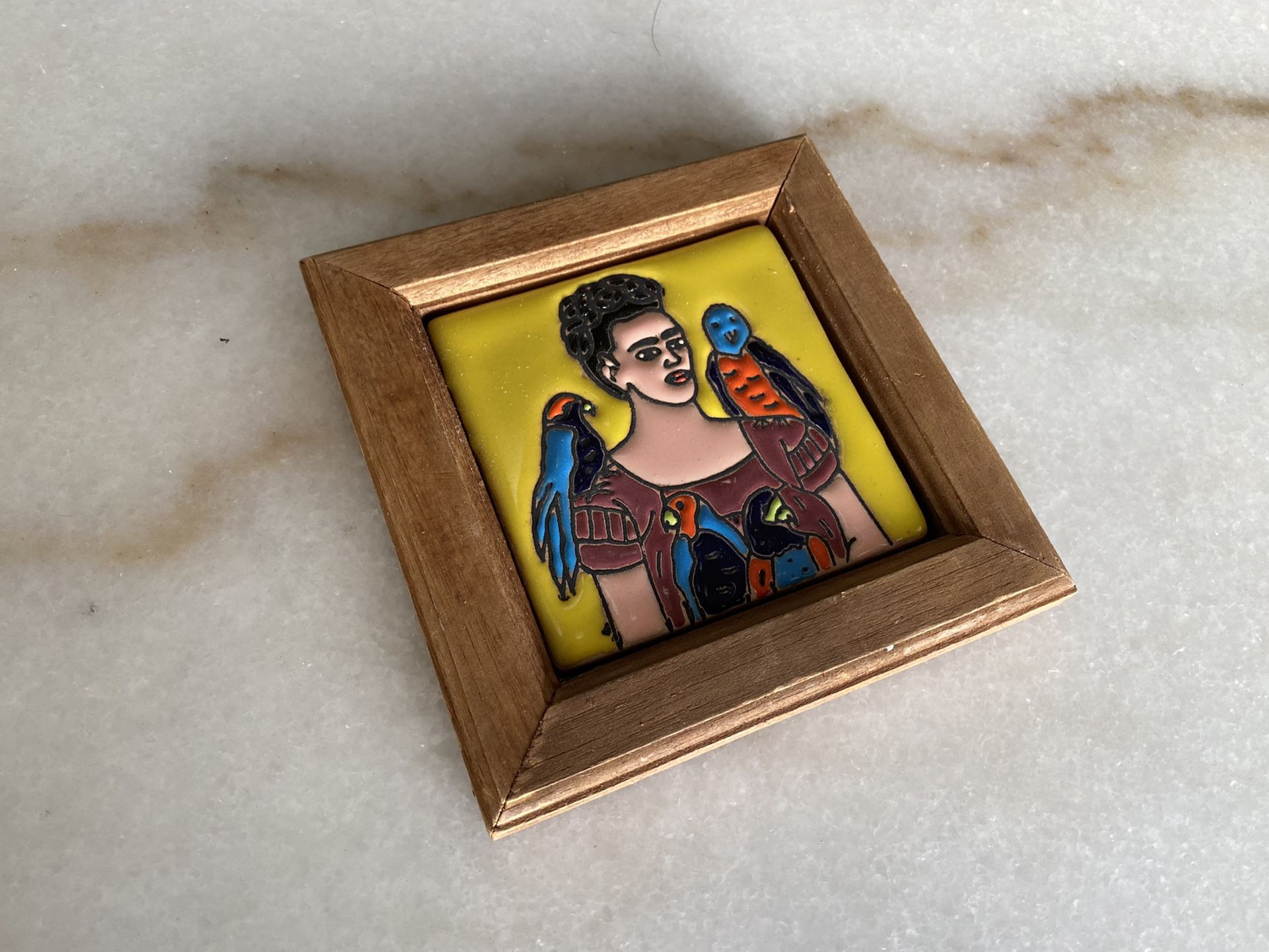 Small Frida Kahlo hand painted tile hanging. (Price is firm)