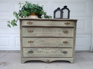 Antique 4 drawer dresser with French transfer. Painted with Annie Sloan. for Sale in Rancho Cucamonga, CA