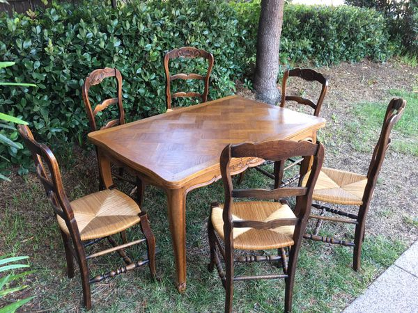 Antique French Oak Draw Leaf Dining Table And Chairs