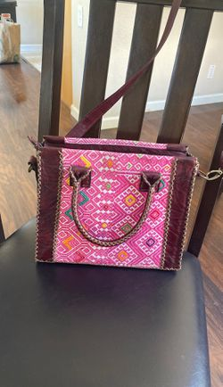 $100 handmade all leather pink and burgundy purse! Thumbnail