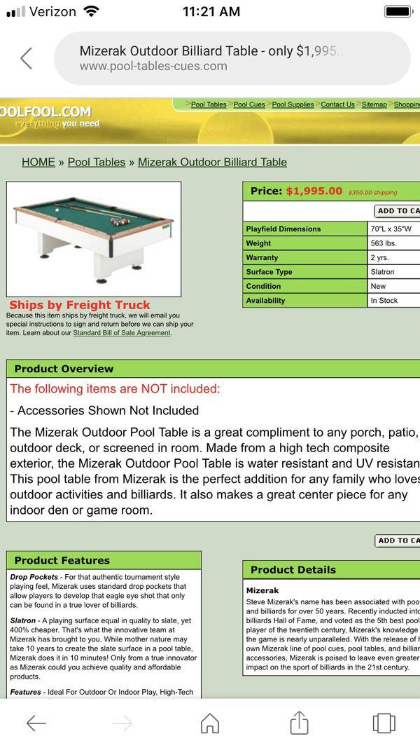 Foot Mizerak Pool Table In Excellent Condition Trade For Smith - Mizerak outdoor pool table