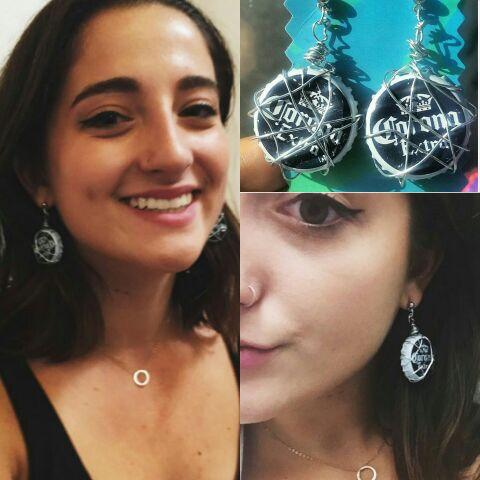 Wire-wrapped CORONA bottle-cap earrings!