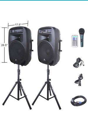 PRORECK PARTY 15 Portable 15-Inch 2000 Watt 2-Way Powered PA Speaker System Combo Set with Bluetooth/USB/SD Card Reader/ FM Radio/Remote Control/LED for Sale in Orlando, FL