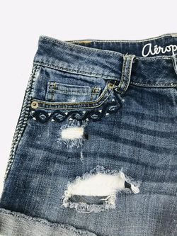 Aeropostale Destroyed Midi Denim Shorts - Size 2 Thumbnail