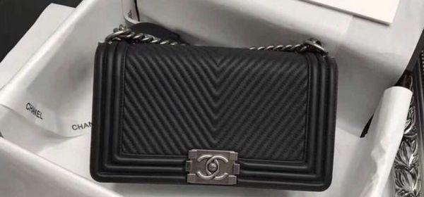 caaf0ff98d9e Chanel Black Herringbone Chevron Calfskin Boy Bag for Sale in San ...