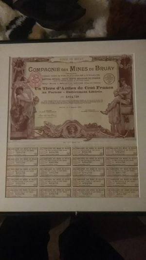 Official french stocks from 1939 compagne Des mines de bruay for Sale in Seattle, WA