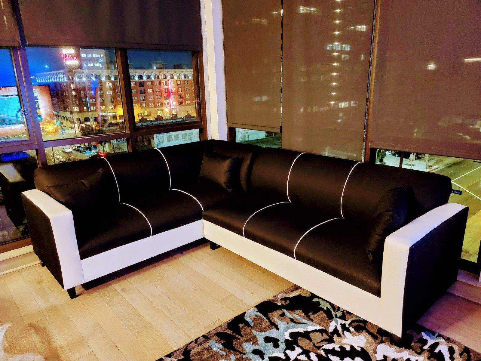 NEW 7X9FT DOMINO BLACK FABRIC SECTIONAL COUCHES
