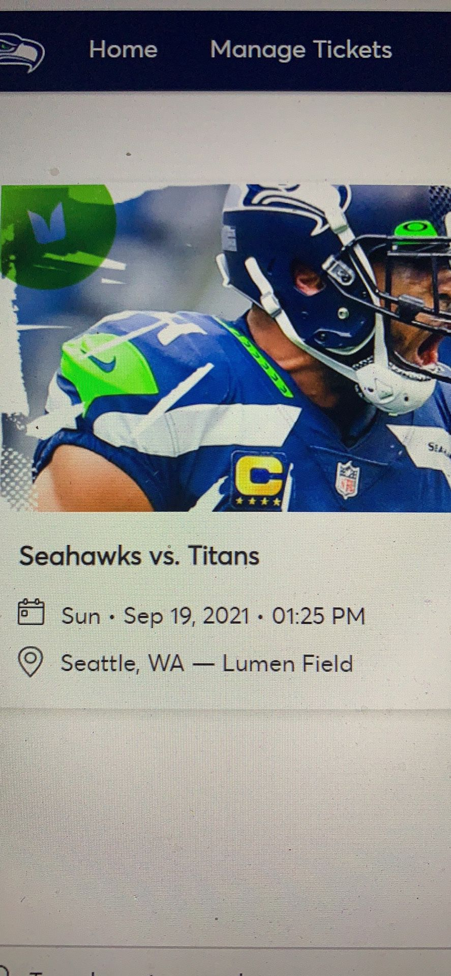 Two great aisle Club Seats - Seahawks vs. Titans - face value