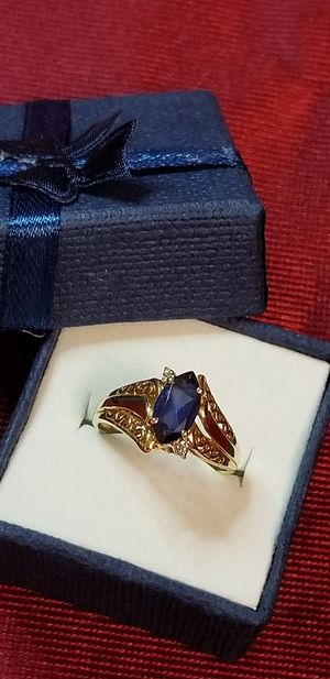 10K Real Gold Filligree w/ Sapphire Marquise Ring, its has 2 little diamonds each side of the sapphire. Size 7, weight 2.5 grams for Sale in Erlanger, KY