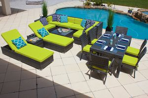 New 17 piece Outdoor Patio Furniture Sofa Set In Gray Wicker with Cushions Aluminum Frame for Sale in Hallandale Beach, FL