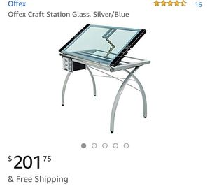 Offex Craft Station Glass, Silver/Blue for Sale in San Francisco, CA
